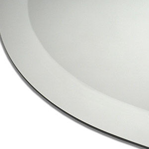 Smooth bevelled edge circular and oval mirrors