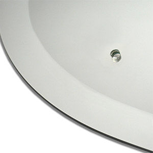 Smooth bevelled edge circular and oval mirrors with holes